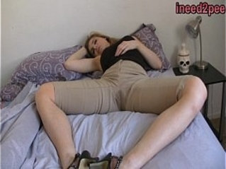 Candle Box female desperation wetting her jeans