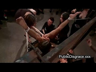 All girl most intense bondage bdsm in public