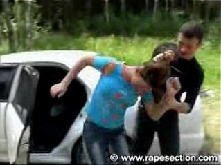 Brunette babe gets fucked next to car