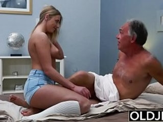 Blonde Teen gets Fucked By Hairy Old Man she loves getting sex blowjobs and cum