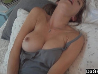 Busty hot wife excites her husband and sucks cock