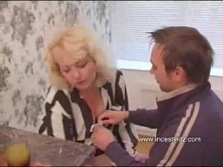 My pretty blond mom has sex with me