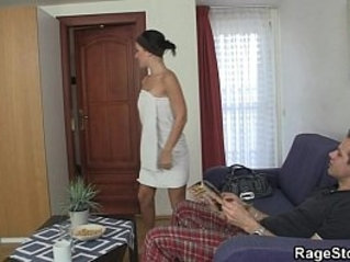He bangs his cheap slut real hard
