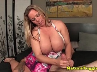 Curvy mature jerking dick and shows huge natural tits