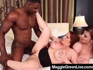 Curvy blonde maggie green and busty milf sara jay fuck cock