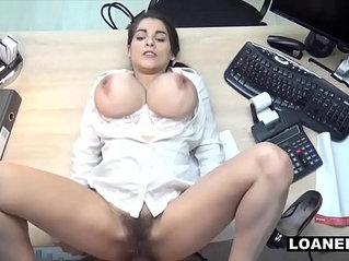 Hot Teen Uses Giant Tits Hairy wet Pussy To Swing Loan Agent Decision