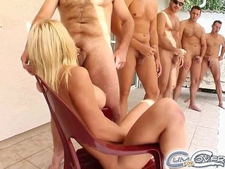 Cum For Cover Blonde chick gets covered in a cumshot mess