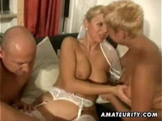 Amateur young couple threesome fuck session with nasty Milfs