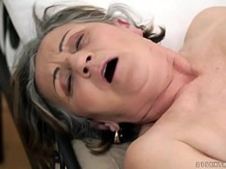 Hairy granny pussy and ass fucked deep