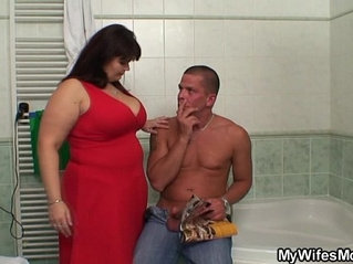 She finds him with huge titted mom