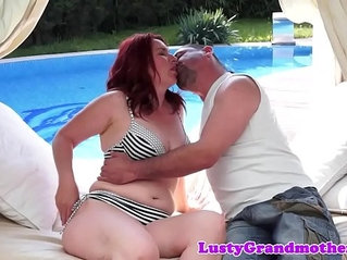 Lovely grandma banged and creampied